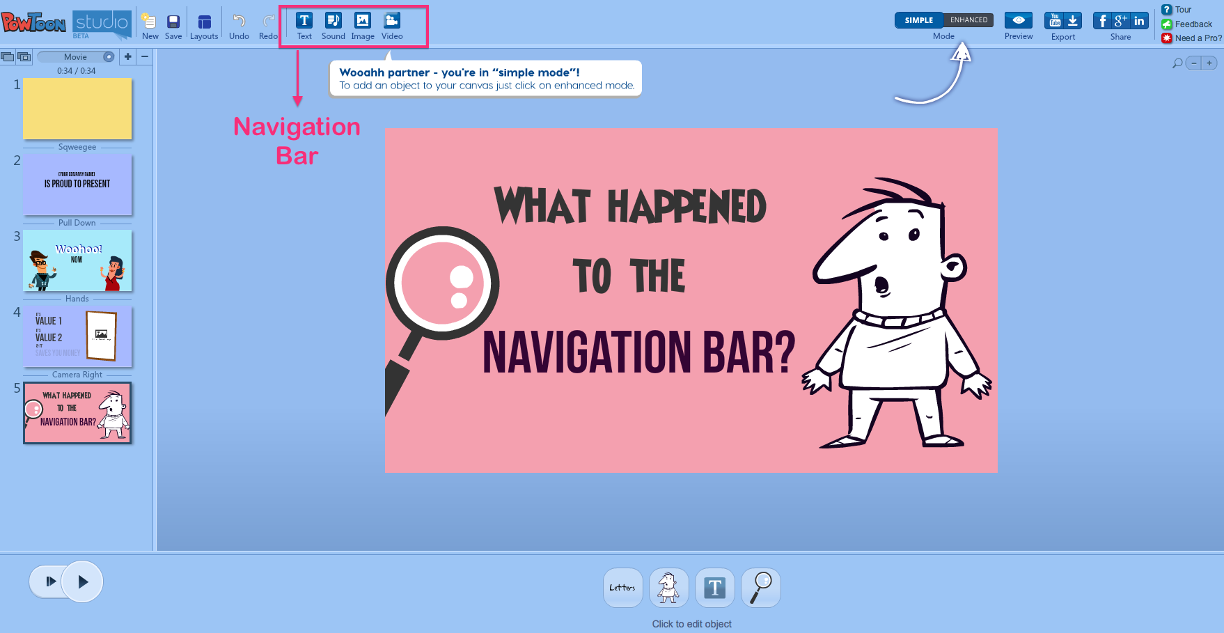 Navigation bar Powtoon